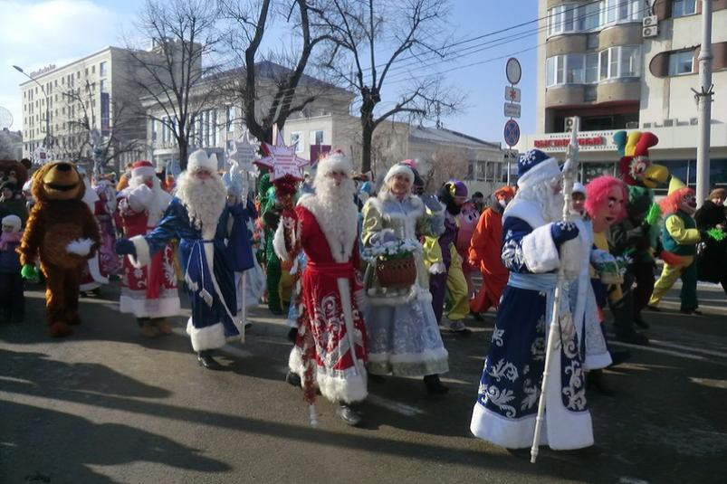 Парад Дедов Морозов и Снегурочек в Краснодаре 2019