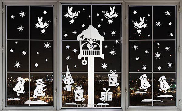 Украшения на окна на новый год 2019 своими руками — шаблоны и трафареты. Идеи чем можно украсить окна., схемы вытынанок, как приклеить снежинки на окна