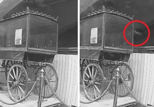 Камера засняла выходящую из стены музея руку призрака