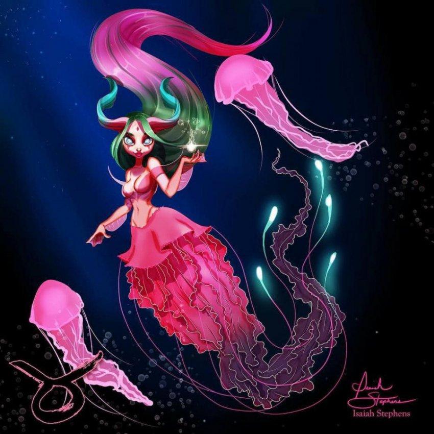 Художник представил, как выглядели бы знаки Зодиака, будь они фантастическими русалками