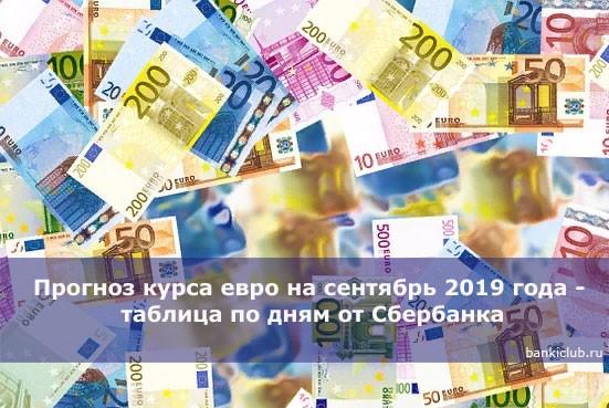 Прогноз курса евро на сентябрь 2019 года — таблица по дням от Сбербанка