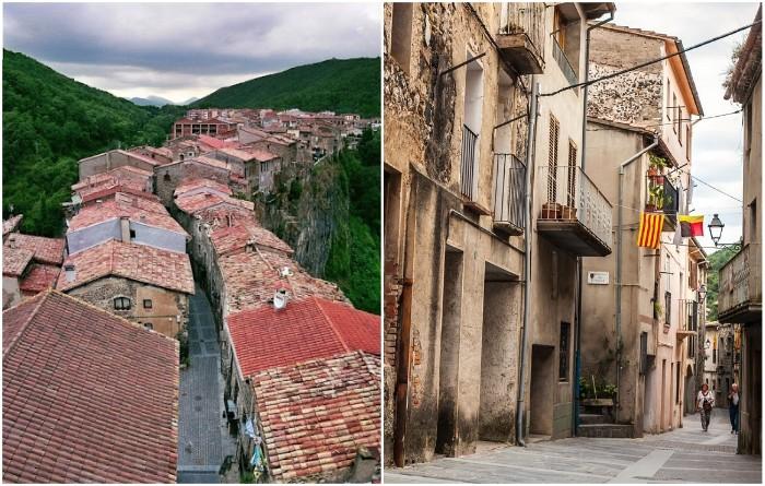 Каталонский городок с экстремальной улицей на обрыве