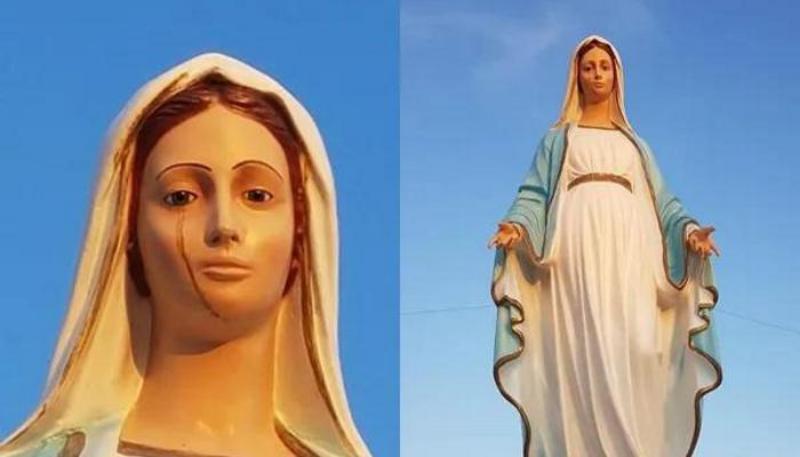 Статуя Девы Марии в Италии начала плакать кровавыми слезами