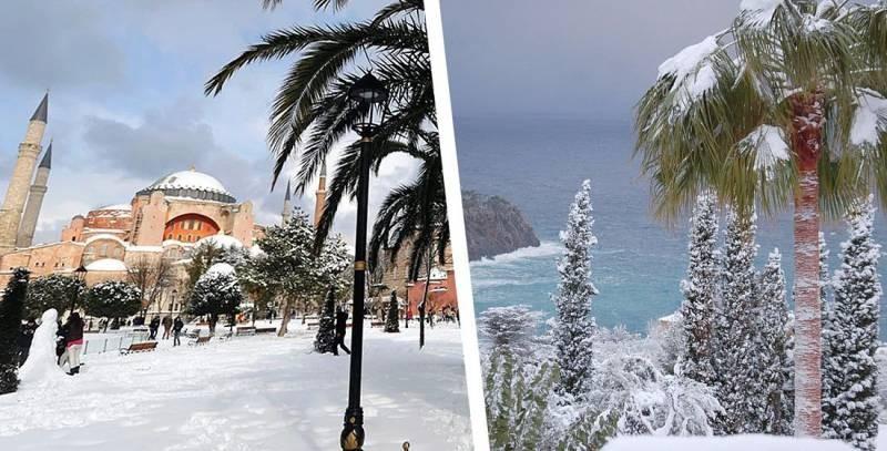 На курортах Черноморского побережья Турции выпал снег